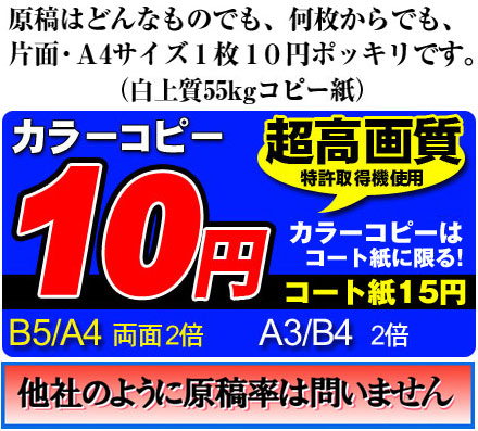 A4サイズ1枚10円